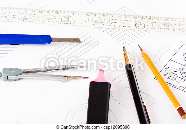 tools and mechanisms detail on the background of engineer drawin - csp12095390