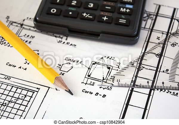 tools and mechanisms detail on the background of engineer drawings - csp10842904