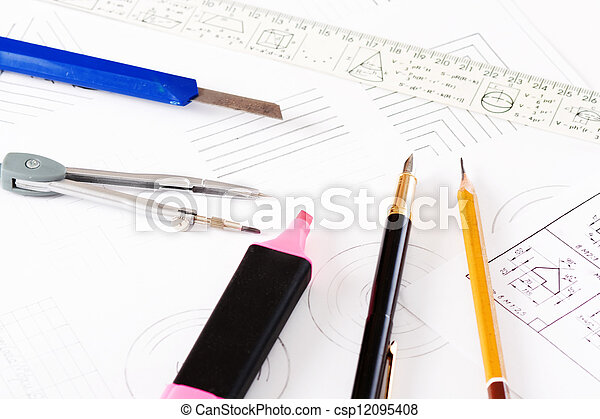 tools and mechanisms detail on the background of engineer drawin - csp12095408