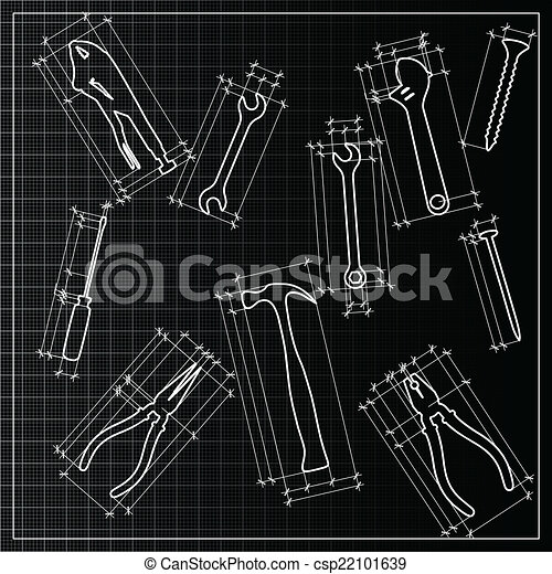Tools backrgound sketch, vector - csp22101639
