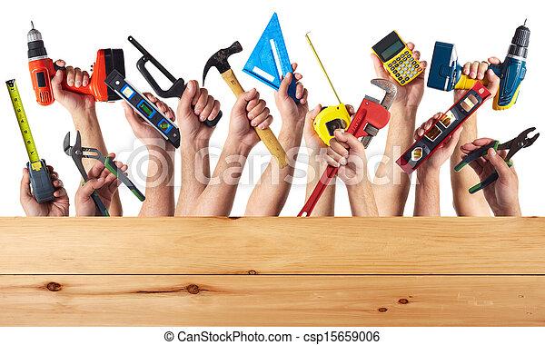 Manos con herramientas DIY. - csp15659006