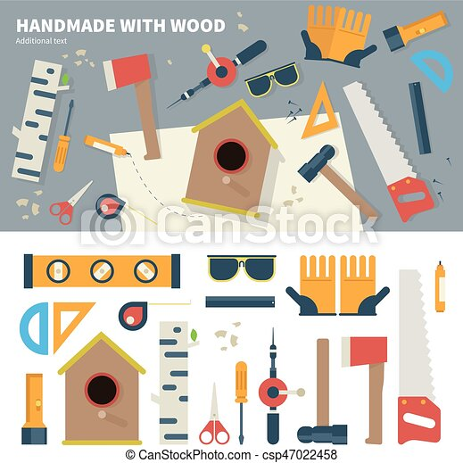 Tools For Handmade Things Geometric Illustartion Of Tools For