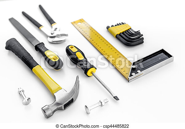 Tools for repairing top view on white background - csp44485822