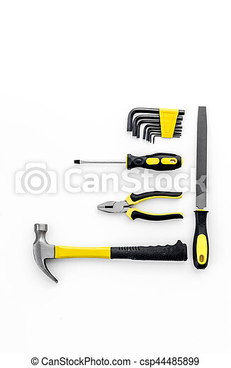 Tools for repairing top view on white background - csp44485899