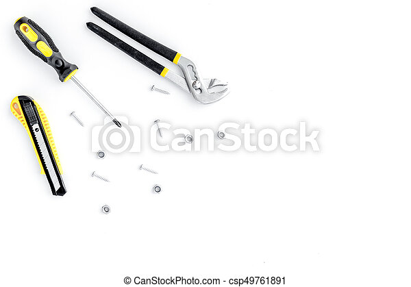 Tools for repairing top view on white background - csp49761891
