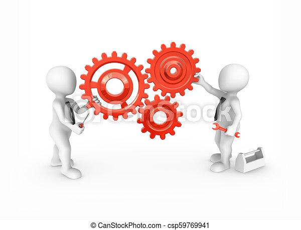 3D personas pequeñas con engranajes rojos y herramientas. - csp59769941