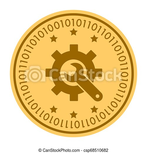 Tools golden digital coin vector icon. Gold yellow coin with wrench and gear symbol. cryptocurrency icon isolated on white background. Flat style. Eps 10 - csp68510682