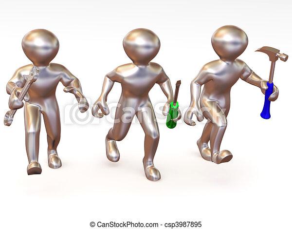 tools., három, fenntartás, ember - csp3987895