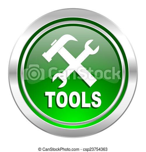 tools icon, green button - csp23754363