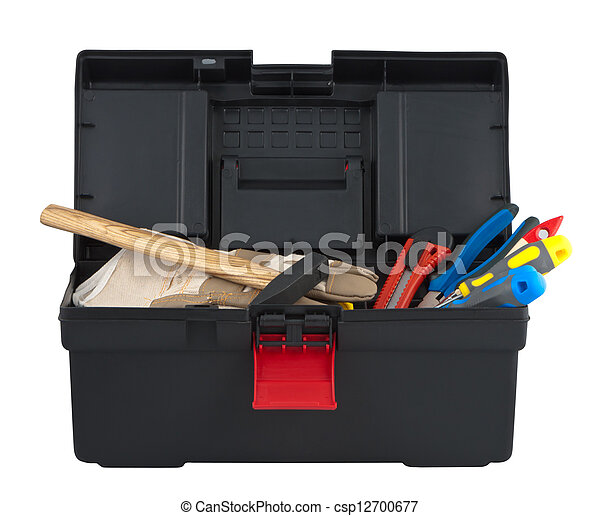 Tools in box isolated on white background. - csp12700677