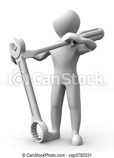 Hombre con herramientas. Mantenimiento - csp3792331
