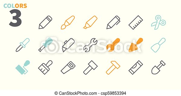 Tools Pixel Perfect Well-crafted Vector Thin Line Icons 48x48 Ready for 24x24 Grid for Web Graphics and Apps with Editable Stroke. Simple Minimal Pictogram Part 1 - csp59853394