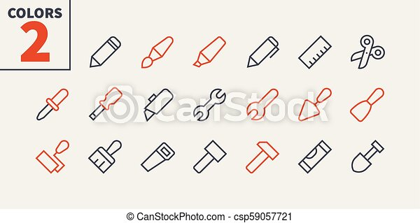 Tools Pixel Perfect Well-crafted Vector Thin Line Icons 48x48 Ready for 24x24 Grid for Web Graphics and Apps with Editable Stroke. Simple Minimal Pictogram Part 1 - csp59057721
