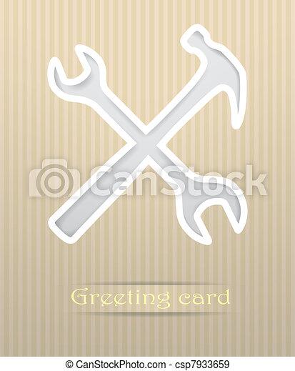 Tools postcard vector illustration - csp7933659