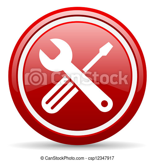 tools red glossy icon on white background - csp12347917