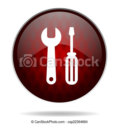 tools red glossy web icon on white background - csp22364664