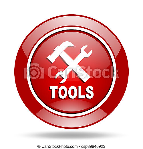 tools red web glossy round icon - csp39946923