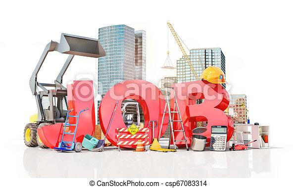 tools., słowo, praca, ilustracja, praca, 3d - csp67083314
