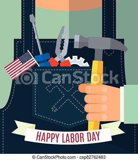 tools., tarjetas, bandera, aviador, edificio, día, feliz, ilustración, estilo, diseño, overol, cartel, mano, plano, bolsillo, tela vaquera, martillo, el suyo, trabajador, vector, trabajo, saludos, folleto, asideros - csp82762463