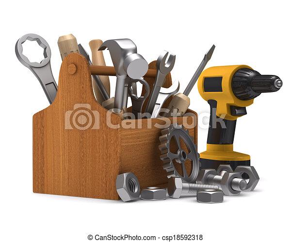 tools., trä, avbild, isolerat, toolbox, 3 - csp18592318