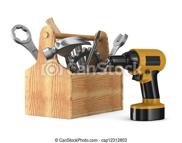 tools., trä, avbild, isolerat, toolbox, 3 - csp12312803