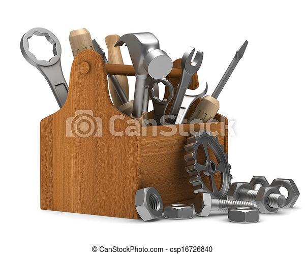 tools., trä, avbild, isolerat, toolbox, 3 - csp16726840