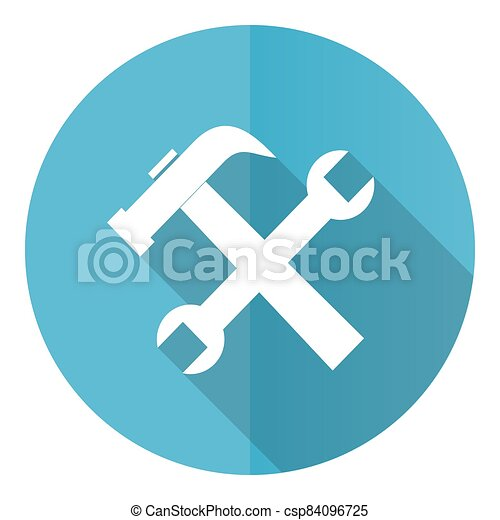 Tools vector icon, service flat design blue round web button isolated on white background - csp84096725
