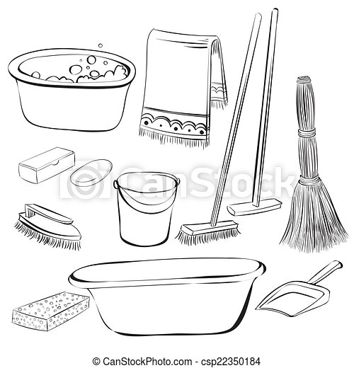 Tools With Things For Cleaning And Wash Vector Dooddle Eps 8