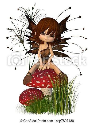 toon, cute, outono, toadstool, fada - csp7807488
