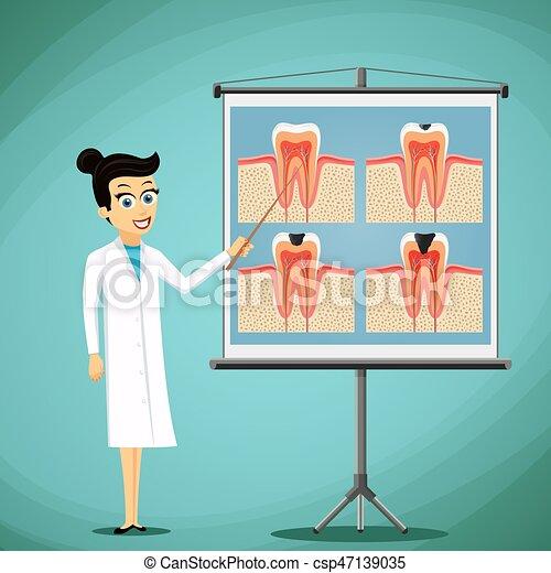 tooth., 医者, 黒板, 図, 歯科医, 人間, ショー - csp47139035