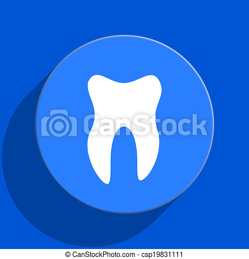 tooth blue web flat icon - csp19831111