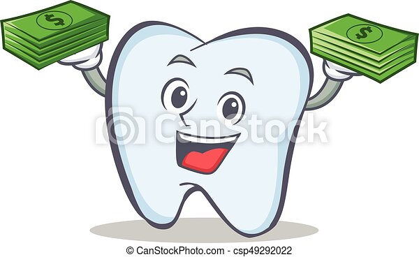 tooth character cartoon style with money - csp49292022