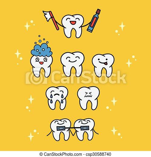 tooth cartoon children vector illustration various cartoons cute