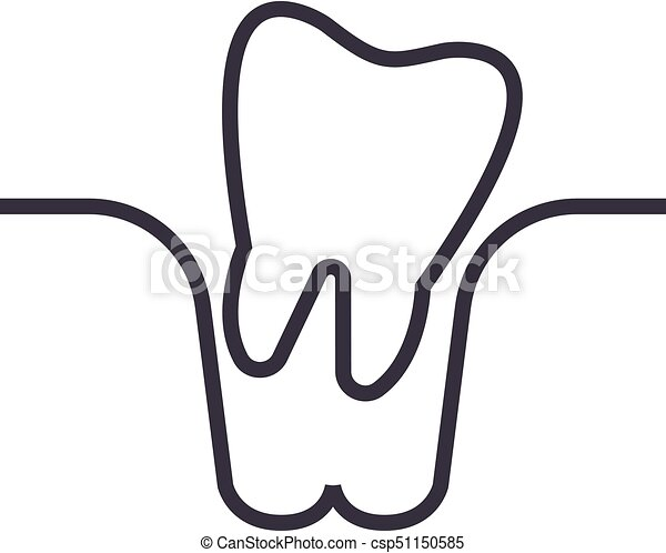 Tooth extraction vector line icon, sign, illustration on