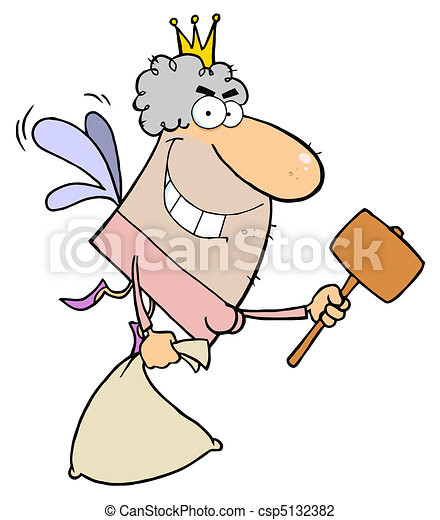 Tooth Fairy Flying With A Mallet  - csp5132382