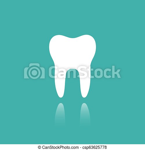 Tooth flat icon with reflection on a green background - csp63625778