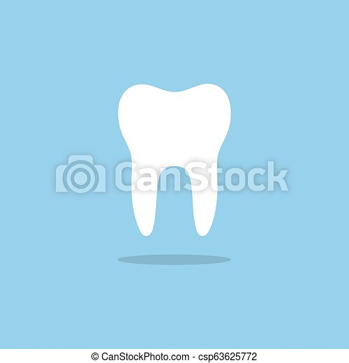 Tooth flat icon with shade on a blue background - csp63625772