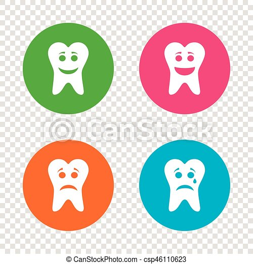 Tooth Happy Sad And Crying Face Icons Tooth Happy Sad And Crying