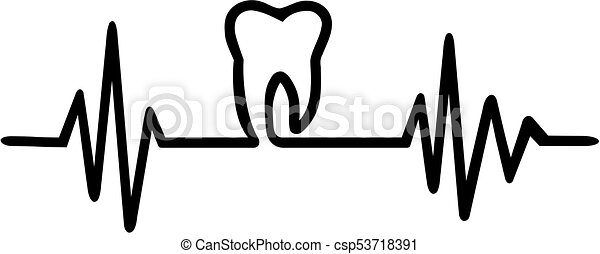 Tooth heartbeat line - csp53718391