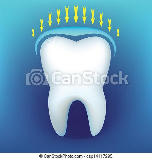Tooth on a dark blue background - csp14117295