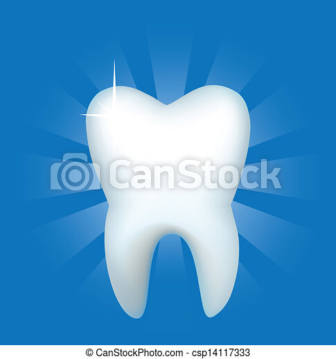Tooth on a dark blue background - csp14117333