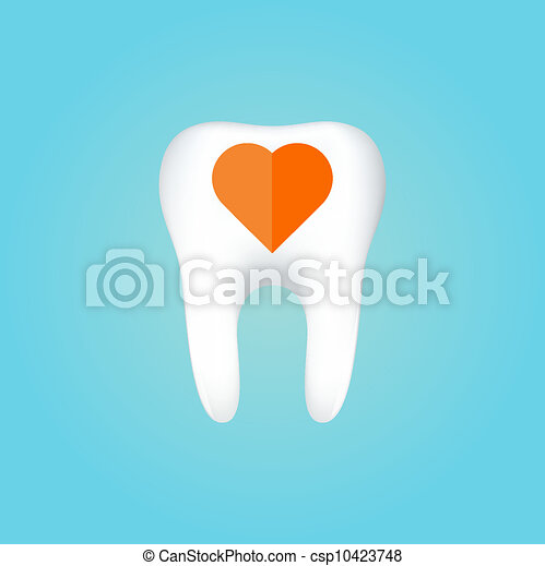 Tooth On White Background. Vector Illustration - csp10423748