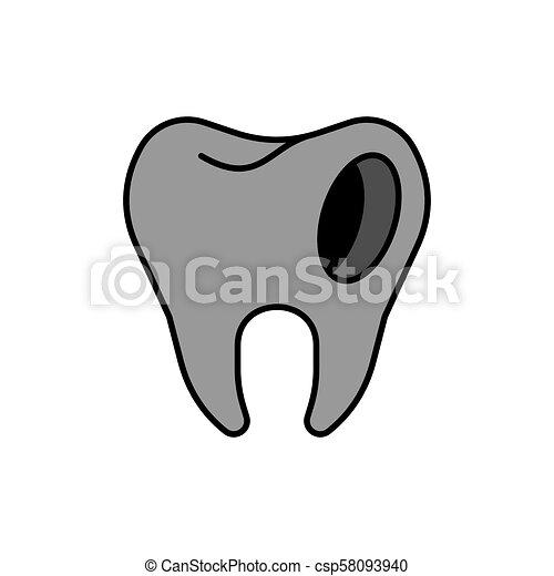 Zahn grau karies
