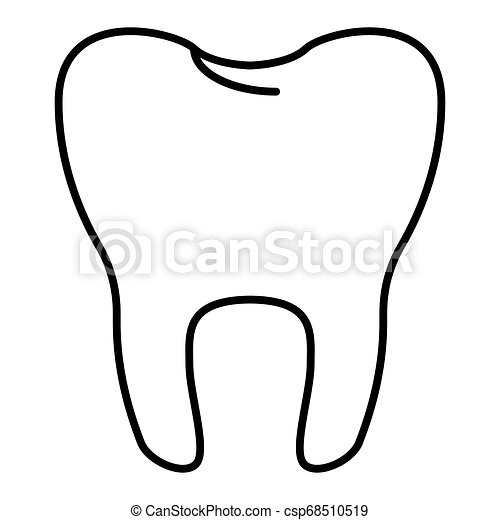 tooth vector Icon. Isolated on white. Flat outline design. Eps 10 - csp68510519