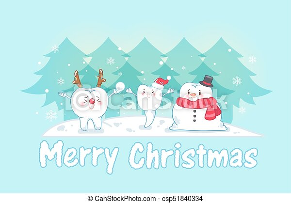 Tooth with christmas on the blue background.