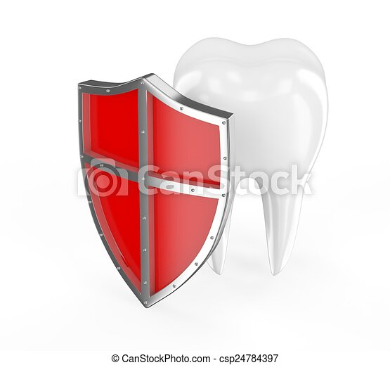 Tooth with metal shield on white background Protection Concept - csp24784397