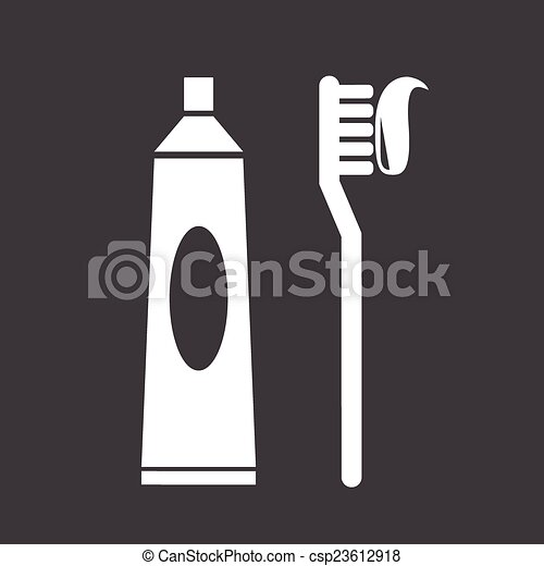Toothbrush and toothpaste icon - csp23612918