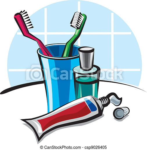 toothbrushes and toothpaste - csp9026405