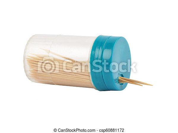 Toothpick box on white background - csp60881172