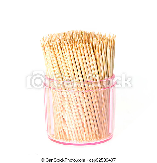 Toothpick in clear plastic box isolated on white background - csp32536407